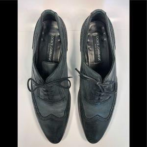 Dolce & Gabbana Men Oxford Gray Shoes;
